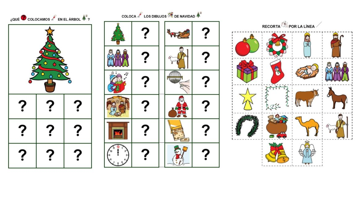juego de relacionar objetos navideños