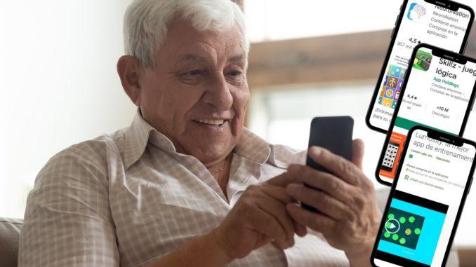 anciano jugando con móvil