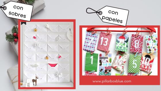 calendario con sobres y papeles decorados